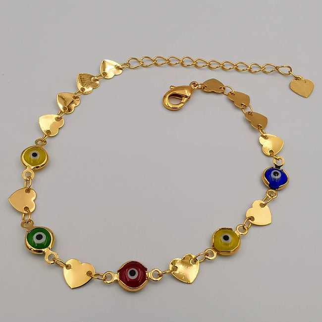 21K Gold Plated Colorful Heart Anklet