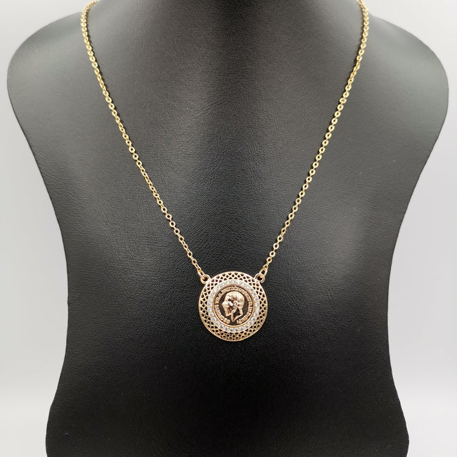 24K Rose Gold Plated Round Crystal Coin Necklace