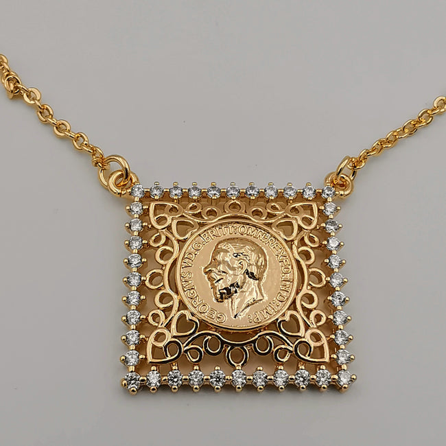 24K Rose Gold Plated Square Crystal Coin Necklace