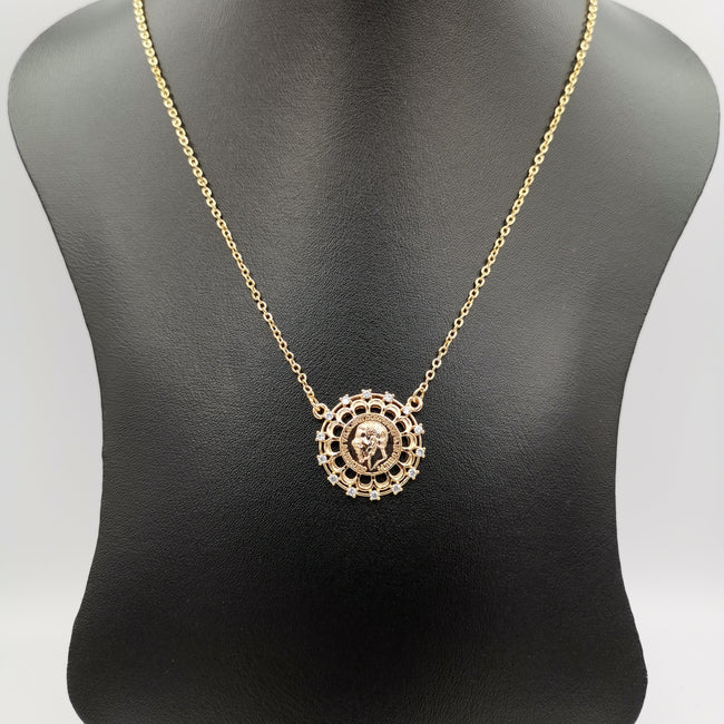 24K Rose Gold Plated Crowned Crystal Coin Necklace