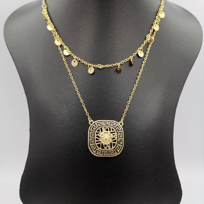 24K Gold Plated Versac.e Square Dual Layer Necklace