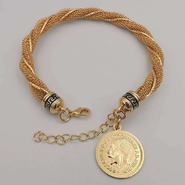 24K Gold Plated Coin Adjustable Threaded Bracelet