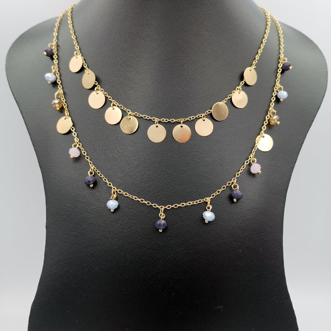 24K Gold Plated Colorful Stones Dual Layer Necklace
