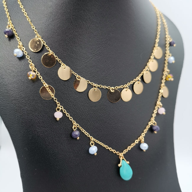 21K Gold Plated Colorful Turquoise Stone 2 Layer Necklace