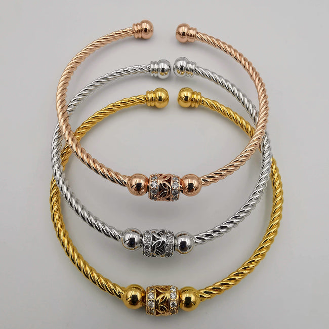 24K Gold Plated Bracelet Set [3-Pieces] - Adjustable Size - Style 8