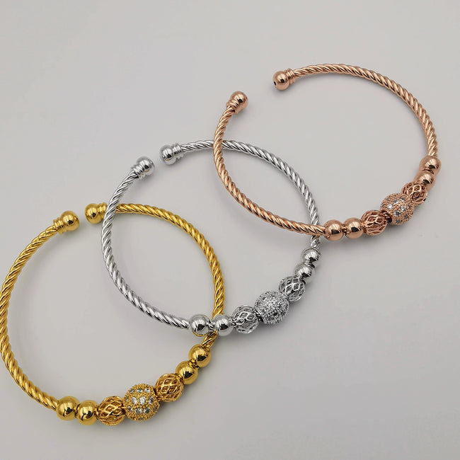 Copy of 24K Gold Plated Bracelet Set [3-Pieces] - Adjustable Size - Style 9