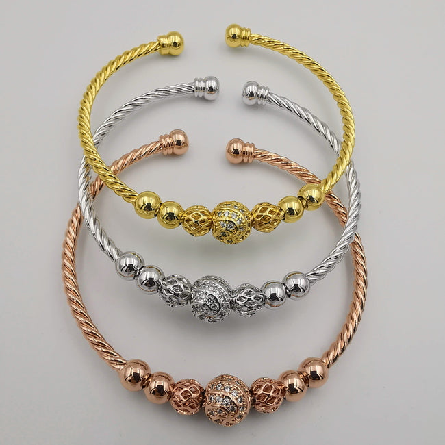 24K Gold Plated Bracelet Set [3-Pieces] - Adjustable Size - Style 10