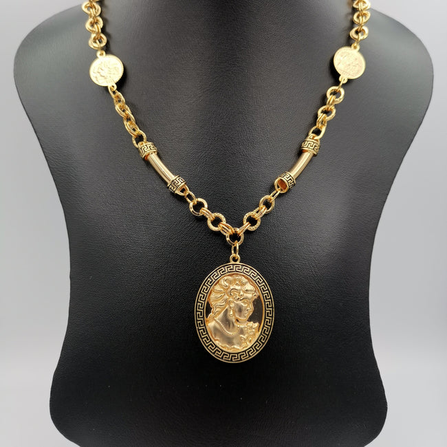 24K Gold Plated Camay Horn Chain Necklace