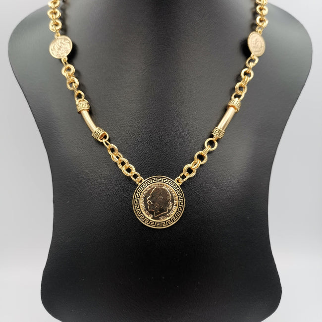 24K Gold Plated Coin Horn Chain Necklace