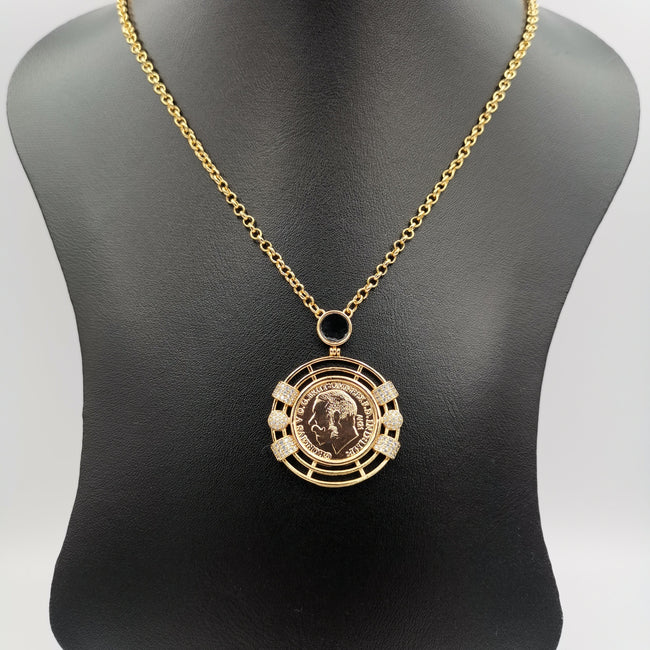24K Gold Plated Coin Crystal Necklace - [JG Design Style 1]