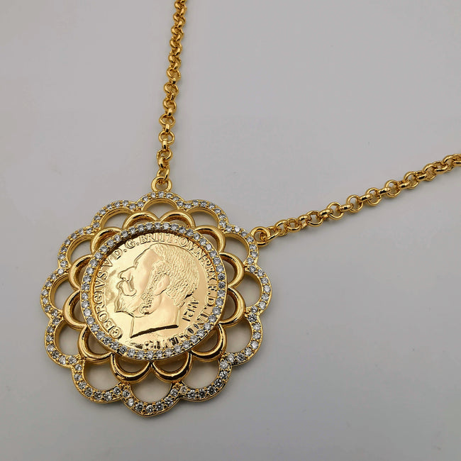 24K Gold Plated Coin Crystal Necklace - [JG Design Style 2]