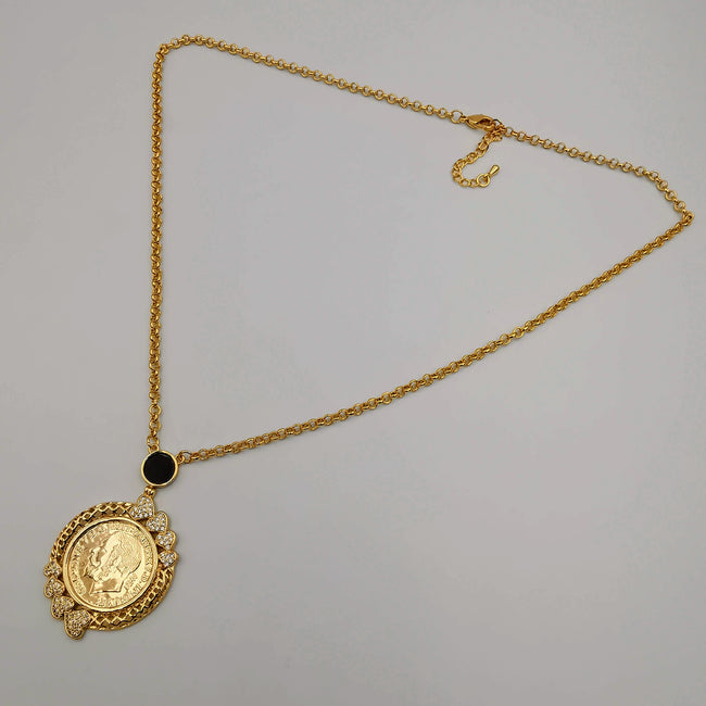 24K Gold Plated Coin Crystal Necklace - [JG Design Style 4]