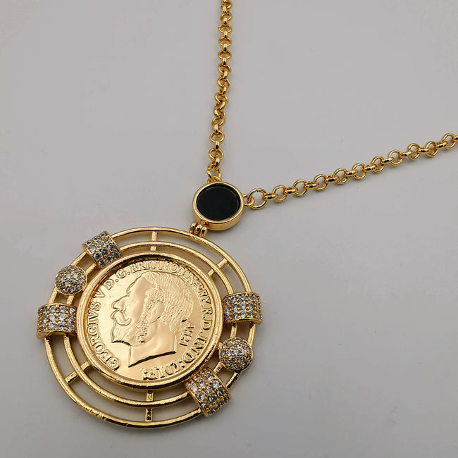 24K Gold Plated Coin Crystal Necklace - [JG Design Style 5]