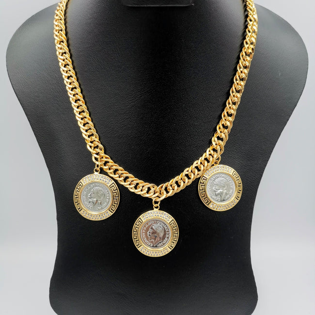 24K Gold Plated 3 Double Color Coin Necklace