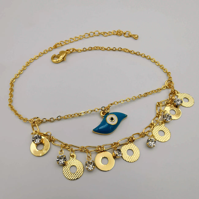 24K Gold Plated Turquoise Eye Anklet