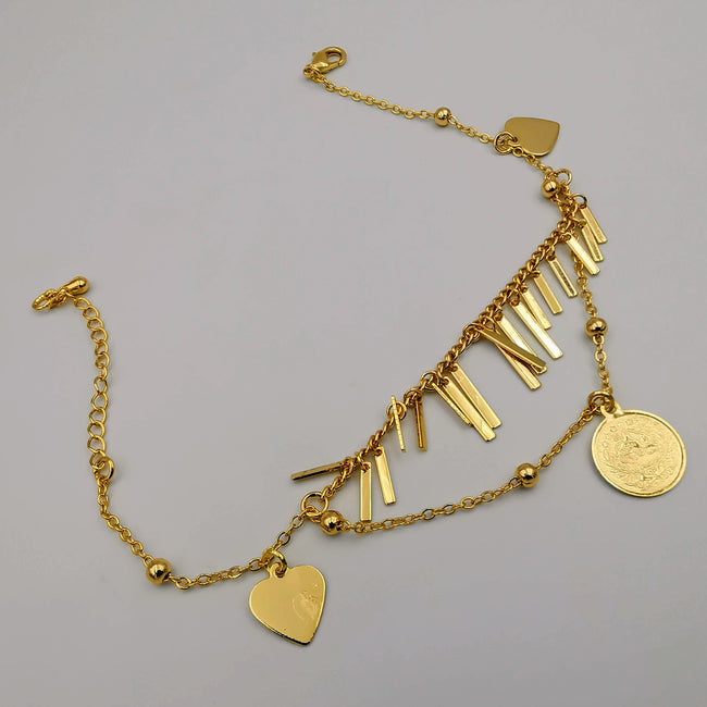24K Gold Plated Coin Heart Danglers Anklet