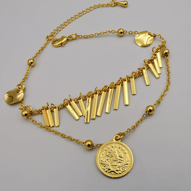 24K Gold Plated Coin Round Danglers Anklet