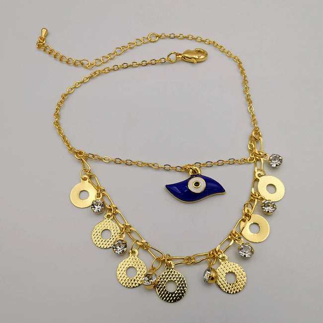 24K Gold Plated Blue Eye Anklet
