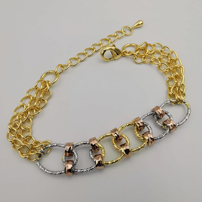 24K Gold Plated Six Chain Bracelet - Tri-color