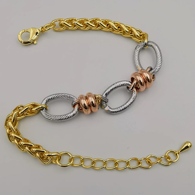 24K Gold Plated Three Chain Bracelet - Tri-color