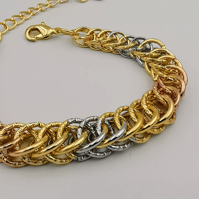 24K Gold Plated Snake Chain Bracelet - Tri-color
