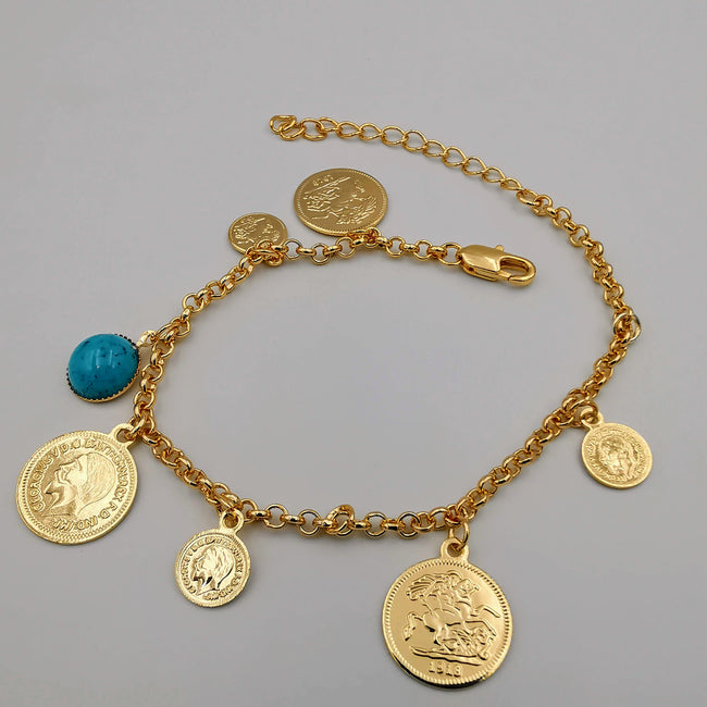 21K Rose Gold Plated Turquoise Coin Bracelet