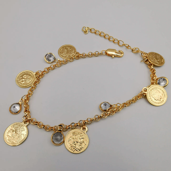 21K Rose Gold Plated Round Crystal Coin Bracelet