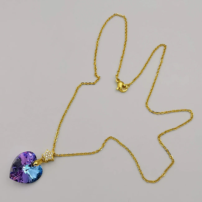 24K Gold Plated Swarovs.ki Heart Crystal Necklace - Purple/Golden/Star