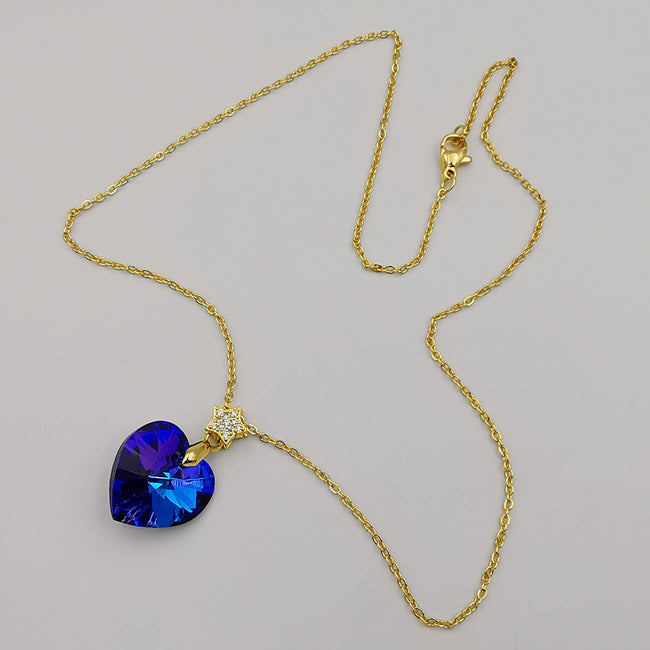 24K Gold Plated Swarovs.ki Crystal Necklace - Blue/Gold/Star