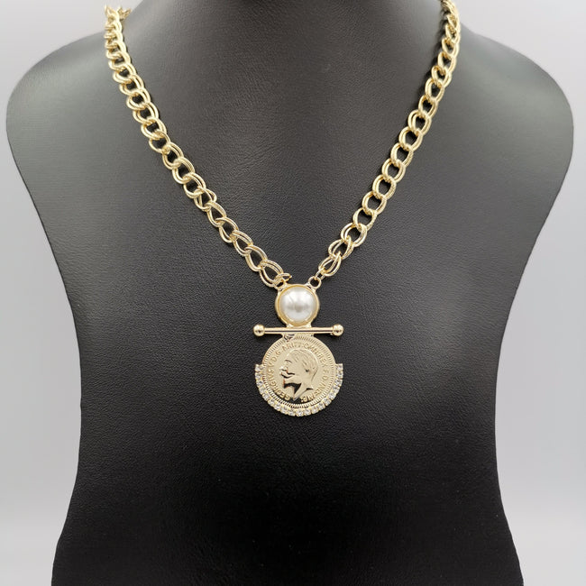 24K Gold Plated Pearl Coin Necklace