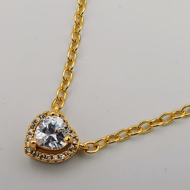 21K Gold Plated Heart Diamond Necklace