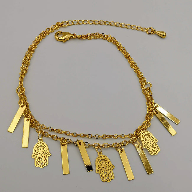 24K Gold Plated Danglers 2 Layer Hand of God Anklet - Offer Hunts