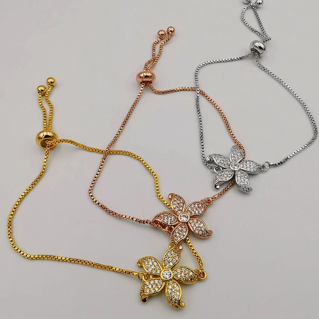 24K Gold Plated Flower Bracelet Set [3 Pieces] - Offer Hunts