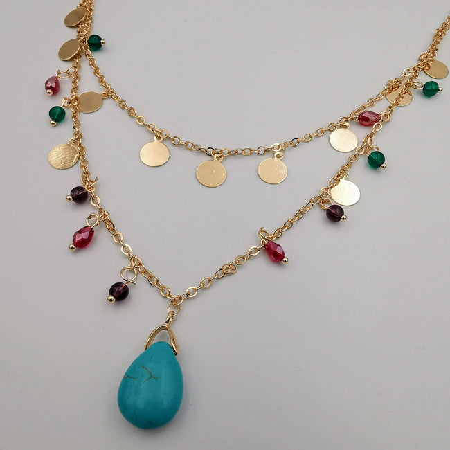 18K Gold Plated Turquoise Stone 2 Layer Colorful Necklace - Offer Hunts