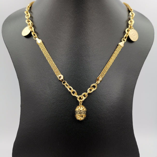24K Gold Plated Stranded Egg Coin Necklace - Offer Hunts