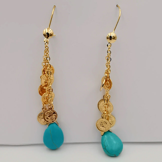 18K Gold Plated Turquoise Coin Dangling Earrings