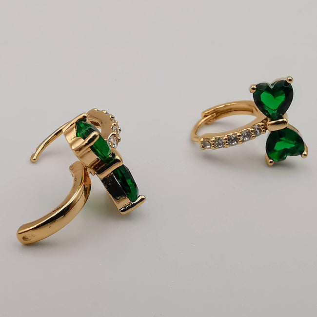 24K Gold Plated Jade Hearts Earrings