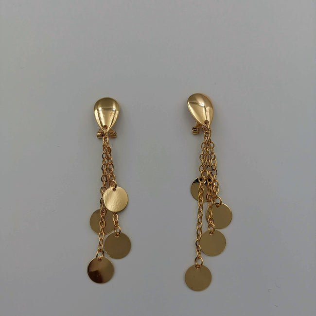 21K Gold Plated Simple Round Danglers Earrings