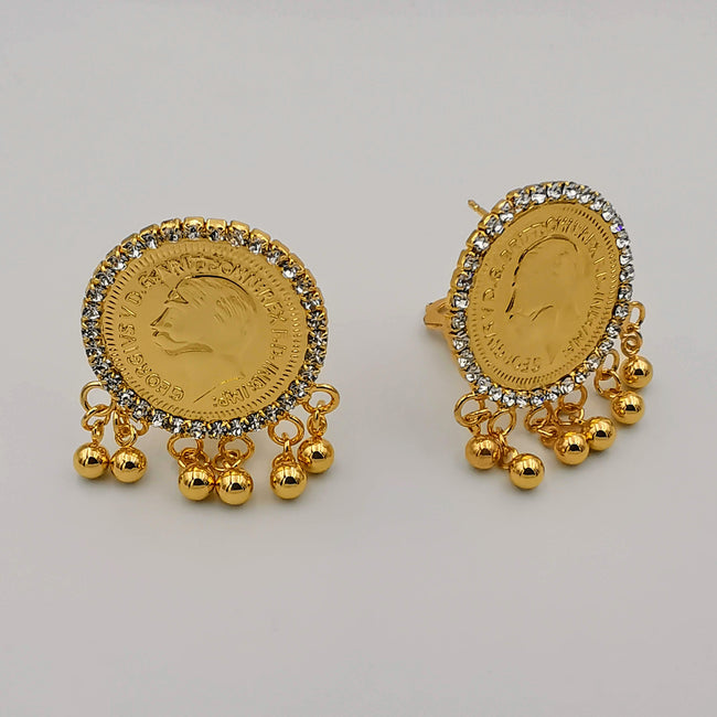 24K Gold Plated Coin Golden Beads Crystal Earrings