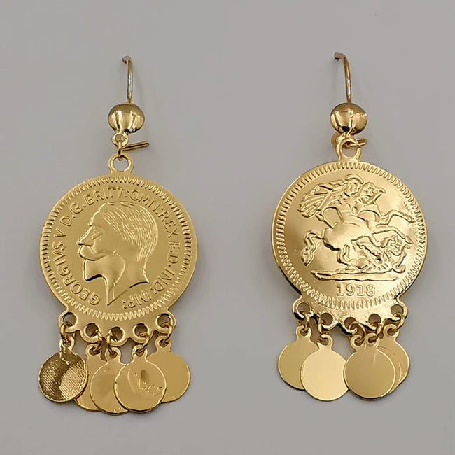 24K Gold Plated Coin Round Drop Danglers Earrings