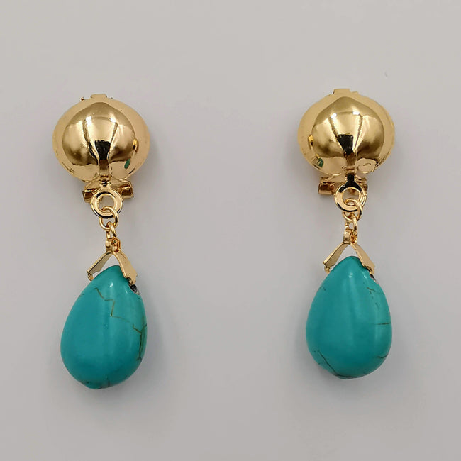 18K Gold Plated Turquoise Button Earrings
