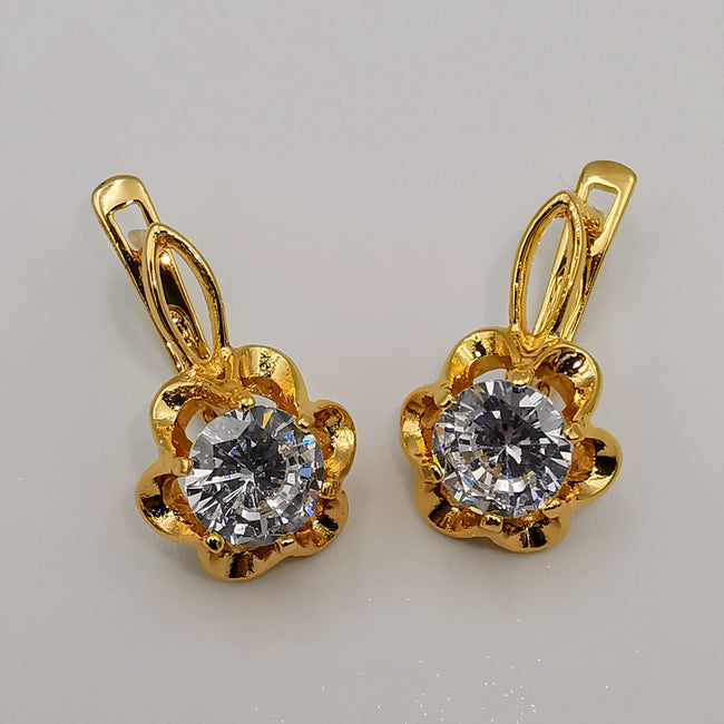 24K Gold Plated Floral Diamond Earrings