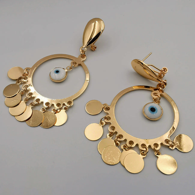 21K Gold Plated Round Eye Dangler Earrings