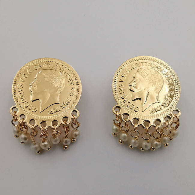 24K Gold Plated Coin Simple White Beads Earrings