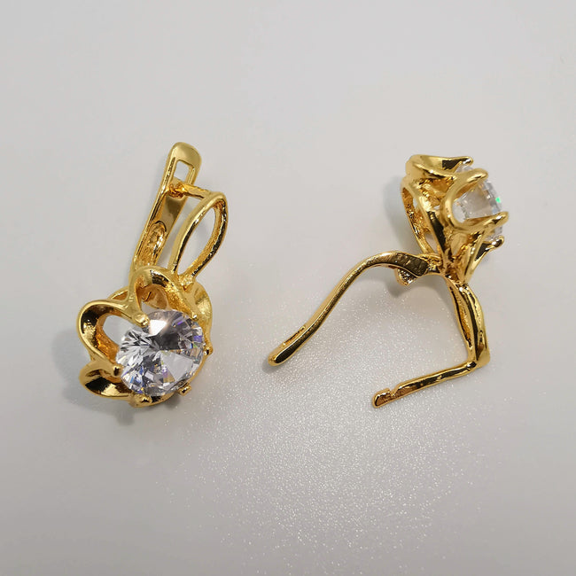 24K Gold Plated Bow tie Crystal Earrings