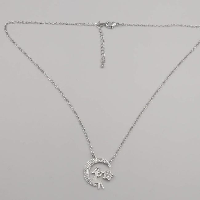 18K White Gold Plated Star Wanderer Necklace - Offer Hunts