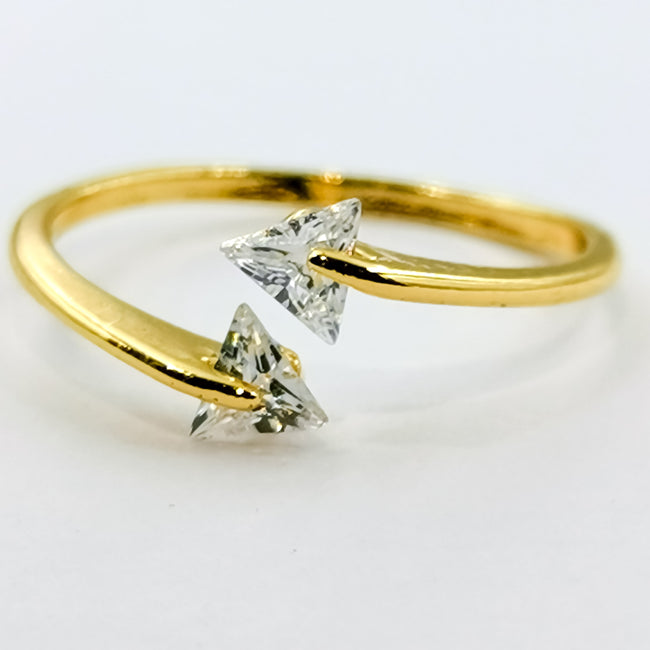 Twin Triangle Stones Ring - Offer Hunts