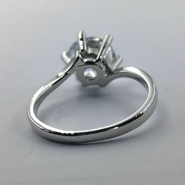 Slender Silver Ring - 6 Prongs and 1 Stone - Offer Hunts