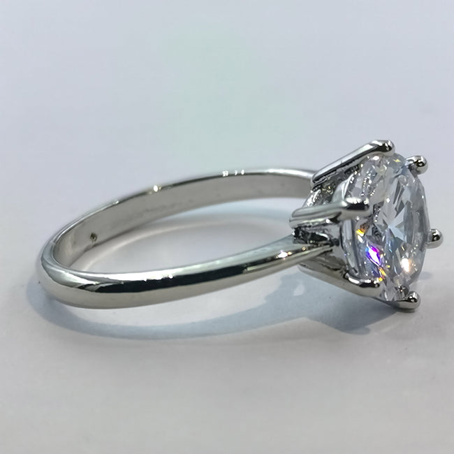 Classic Silver Ring - 6 Prongs and 1 Stone - Offer Hunts