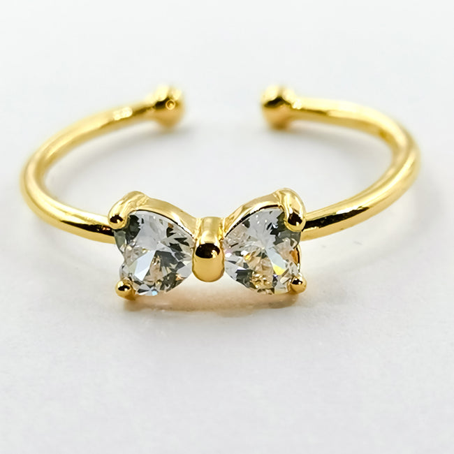 Bow Fashion Ring - Golden with 2 Heart Shaped Crystals - Offer Hunts